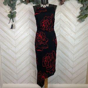 David Meister Midi Asymmetrical Dress Size 10